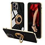 Voyazap Compatible with iPhone 11 Pro Max Ring Holder Case - Pop Women Girls Case with Built-in Metal Magnetic Sheet and 360 Degree Rotation Kickstand for iPhone 11 Pro Max (6.5 Inch) (Black)