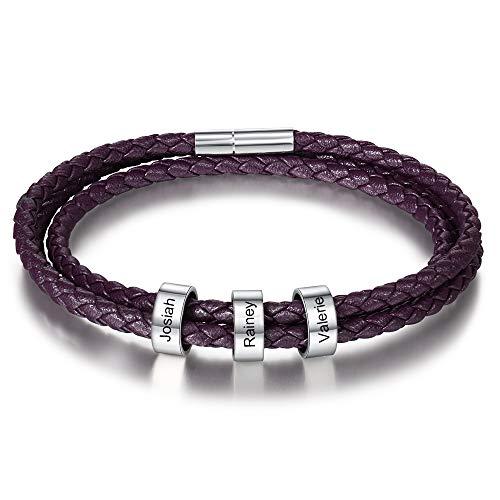 DaMei Personalisierter Armbänder für Männer Damen mit Gravur Silber Anhänger Lederarmband mit Namen Gravur für Männer Frauen Echtlederarmband Schmuck für Herren - Kautschuk Kette (Purple)