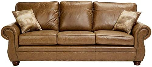 Best Sunrise Coast Amadora Faux-Leather Sofa, Burnt Caramel