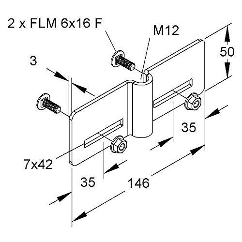 Niedax Aufnahmebügel RGAB 12 F Montageplatte für Kabeltragsystem 4013339947218