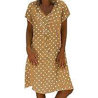 Vestido De Cóctel Lunares Mangas Cortas Elegantes Vintage Verano Lápiz Vestidos De Fiesta Mujer Cortos Escote en V Vestidos de Fiesta Mujer Casual Verano Playa Tallas Grandes