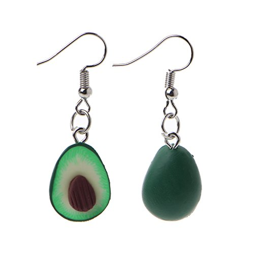 Xuniu des Boucles d'oreilles, Boucles d'oreilles en Argile Verte De Fruits en Forme De Coeur Boucles d'oreilles en Forme D'Avocat en Forme De Cœur pour Femmes Style A