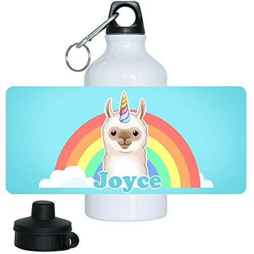 Eurofoto Trinkflasche mit Namen Joyce und Motiv mit Lama-Einhorn für Mädchen | Motiv-Trinkflasche | Kinder-Aluflasche