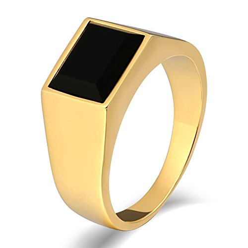 KnSam Anillo para hombre, acero inoxidable, ovalado, de acero inoxidable, para hombres, con circonita, anillo dorado con grabado gratuito, Acero inoxidable, Circonita cúbica.,