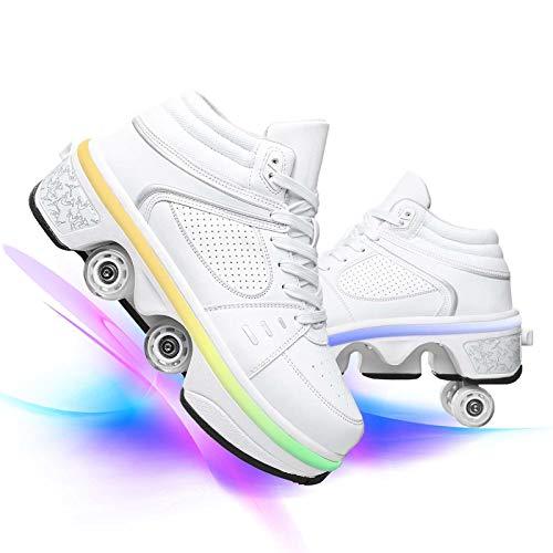 JZIYH Herren Rollschuhe LED Lichter Schuhe Mit 4 Rädern 2 in 1 Parkour Schuhe Outdoor Rollers Für Kinder Und Damen Erwachsene,Weiß,41
