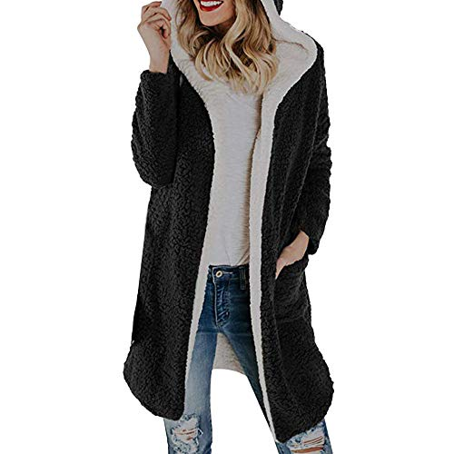 Hoodies Strickjacke Damen Winter Mantel Groß Größe Outdoorjacke Lange Parka Loose Fit Oberbekleidung Mit Kapuze Plüschmantel Btruely