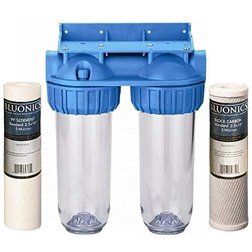 BLUONICS Dual Whole House Water Filter Purifier > Carbon Block and Sediment Filters Included' /></a></td> <td class=