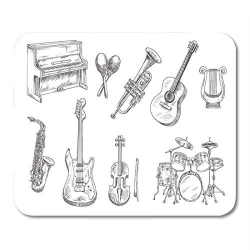 Mauspads Trommel und Klavier Saxophon Akustische E-Gitarren Violine Trompete Mauspad für Notebooks, Desktop-Computer Matten Büromaterial
