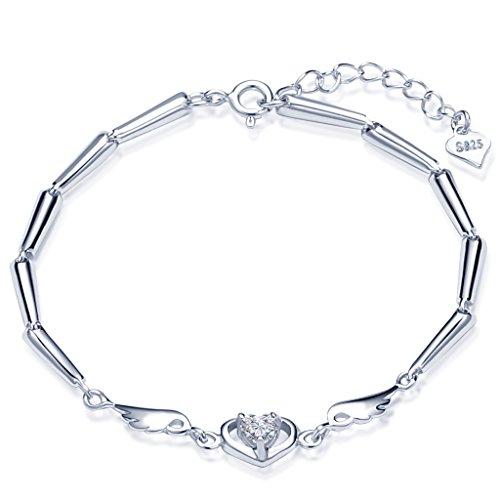 Infinite U - Pulsera de plata de ley 925 con circonita cúbica para mujer, diseño de corazón y alas de ángel, cadena de mano con extensión, color plateado