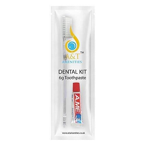 Kit dental Cepillo de dientes con 5 gr de pasta de dientes Empacados individualmente 50 Paquetes Ideal para hoteles, alojamiento y desayuno y viajes