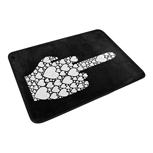 XiangHeFu Tapis de surface 23,6 x 15,7 cm Motif cœur Noir Blanc Tapis personnalisé pour cuisine, salon, salle à manger, chambre à coucher