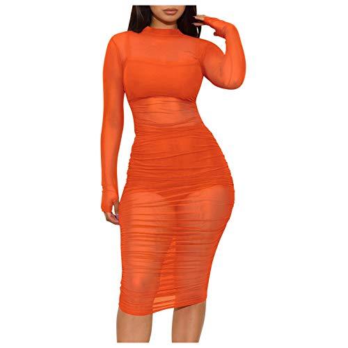 YANFANG Vestido Chaleco Y Pantalones Cortos Conjunto Moda Mujer Malla SóLida Delgada Casual Club Nocturno De Traje,Vestidos para Playa Largos,Vestido Noche Corto,Vestidos Verano Largos,Naranja,XL