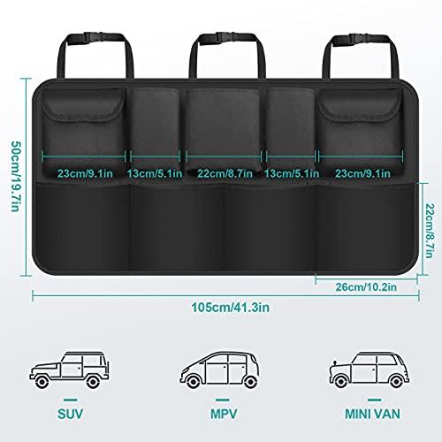 ZOVHYYA Organizador Maletero Coche 9 Pocket Bolsas para Maletero del Coche de Malla Coche Organizador Coche Bolsa con 3 Correas de Ajuste para SUV y Muchos Vehículos