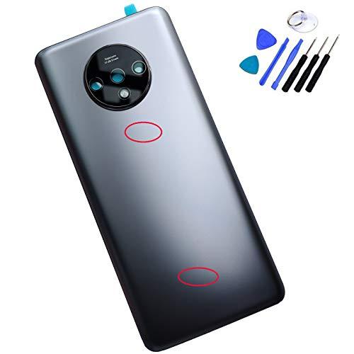 Ubrokeifixit Kompatibles Gehäuse für die hintere Glasabdeckung für OnePlus 7T HD1900 HD1901 Dual SIM 16,5 cm (nicht für 7T Pro 6,67 Zoll), Silber (Glasabdeckung + Kameraobjektiv)