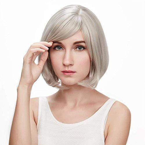 Perruque Dames Qualité Perruques de Cheveux Synthétiques pour Les Femmes Âgées Moyennes Blonde Perruque Courte Droite Fibre Naturelle Cosplay Halloween Robe Partie Perruques