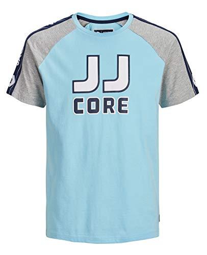 JACK & JONES Jcomaxit tee SS Crew Neck Camiseta, Multicolor (Gulf Stream Fit: Slim), Large para Hombre