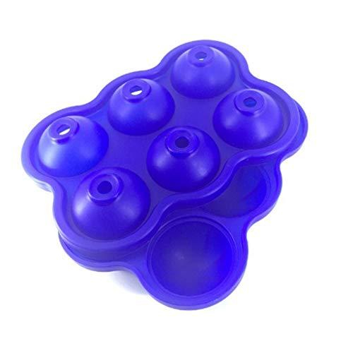 WYBFZTT-188 5 Colores 6 Hoyos 4,5 cm de diámetro de Grado alimenticio Suave Silicona ecológico útil útil casero Cubo Cubo Bandeja de Bola Molde Lindo Simple (Color : E)