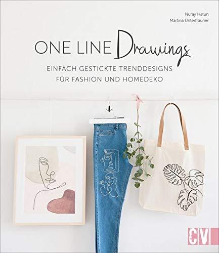 One Line Drawings – Einfach gestickte Trenddesigns für Fashion und Homedeko. Kleidung und Homeaccessoires pimpen mit angesagten Motiven, die aus nur einer Linie bestehen. Neu 2021.