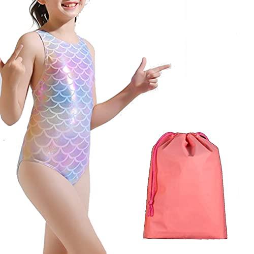 BRONG Costume da Bagno Bambina Un Pezzo con Stampa colorata Neonate Costumi da Bagno Intero professionale da sirena per 4 – 13 anni