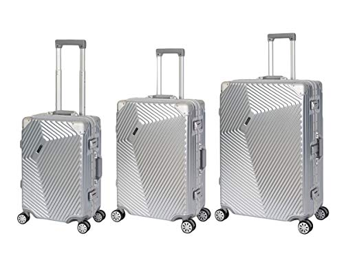 Travelhouse Roma Suitcase, Aluminium Frame and Polycarbonate, Hard Shell Travel Suitcase, Trolley Case Silver silver Koffer-Set (S+M+L)