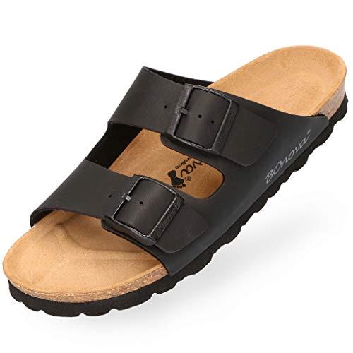 BOnova Herren Pantolette Schwanberg in 4 Farben, Bequeme Hausschuhe mit Kork-Fußbett - Sandalen hergestellt in der EU schwarz 45