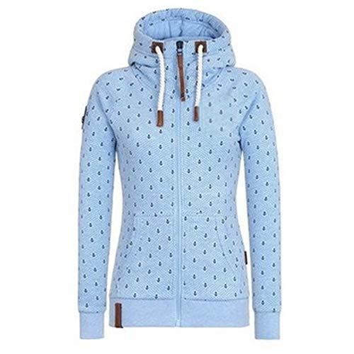 Newbestyle Jacke Damen Sweatjacke Hoodie Sweatshirt Oberteile Damen Pullover Kapuzenpullover Pulli mit Reissverschluss (Himmelblau, M)