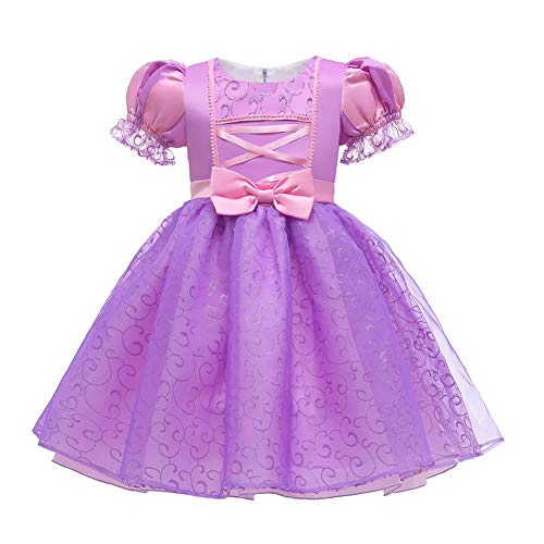 Sofia Rapunzel - Vestido de princesa para niñas, disfraz de cosplay para Halloween, Navidad, cumpleaños, largo, vestido de carnaval, noche, vestido de baile, sesión de fotos para niños