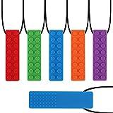 yidenguk Kauen Halskette Silikon Zahnen Anhänger, 5 Stück Bunte Kauen Spielzeug für Training Entwicklung Beruhigung Kinder Chew Toys für Autismus, ADHS, Babys Sensorische Oral Motor, Angst