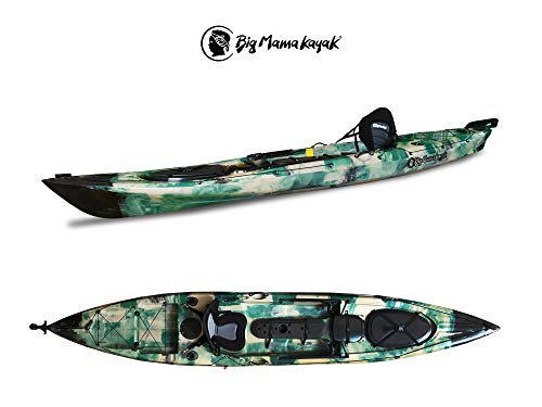BIG MAMA KAYAK Malbec 14 Fishing Canoa 423 Cm con Timone + 4 Gavoni + 2 Portacanne Interni+ Pagaia 220 Cm + Seggiolino (Jungle)