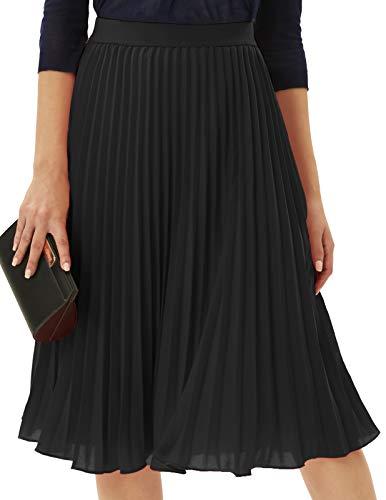 Womens Elastic High Waisted A Line Pleated Shirring Midi Long Skirt Black L