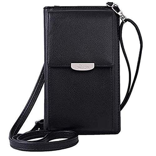 ZhengYue Frauen Brieftasche Cross-Body Tasche Leder Geldbörse Handy Mini-Tasche Kartenhalter Schulter Brieftasche Tasche Schwarz