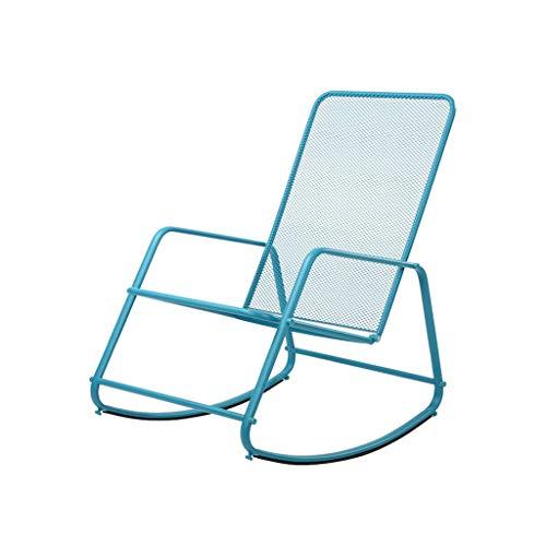 YDLOP Mecedora De Hierro Forjado Al Aire Libre, Sillón Individual De Siesta, Adecuado para Terraza/Sala De Estar 1118-YY (Color : Blue)