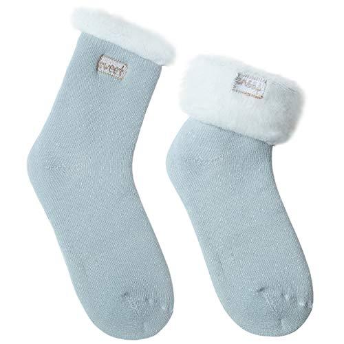 JARSEEN 2 Pares Calcetines de Lana Térmicos de Invierno Bordado Lindo Super Calor Gruesa Calentar Suave Cómodo Calcetines de Mujer (2 Menta, EU 36-42)