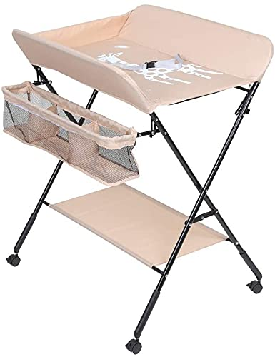 MeJa Baby Changing Table, Portable Folding Adjustable Infant Care Station with Wheels and Storage, Infant Newborn Bath and Massage Tables, Diaper Organizer Station Table(Khaki)