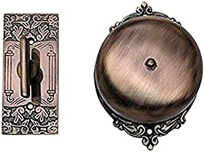 Adonai Hardware Brass Manual Old Fashion Door Bell or Twist Door Bell or Hand-Turn Door Bell (Bartholomew, Antique Copper)