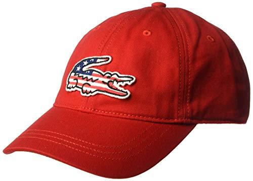 Lacoste Herren Mens Big Croc USA Gabardine Baseball Cap, rot, Einheitsgröße