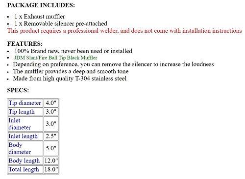 "S SIZVER Weld-On Muffler Series 4"" Fire Ball Tip 3"" Inlet Black Stainless"
