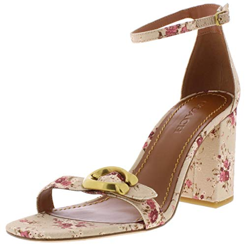 COACH Womens Maya Closed Toe Casual Ankle Strap Sandals, Beige, Size 6.5