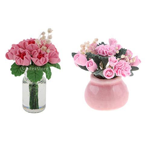F Fityle 2 Unidades Modelo Maceta de Flores Decoraciones de Jardín Escala 1/12 Casa de Muñecas