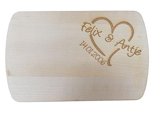 Personalissierte Frühstücksbrettchen graviert aus Holz | Motiv Vesperbrett individuelle mit Motiv und Text | Vesperbretter Brettchen aus Holz für Hochzeit oder Geburtstag | Brettchen mit Name graviert