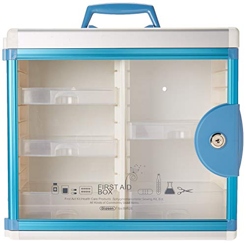 Glosen First Aid Box Lockable Medicine Box with Wall Mounted Function 13.6x6.5x12.4 Inch Blue