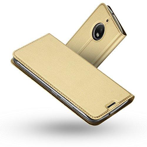 Radoo Moto G5S Plus Hülle, Premium PU Leder Handyhülle Brieftasche-Stil Magnetisch Klapphülle Etui Brieftasche Hülle Schutzhülle Tasche für Motorola Lenovo Moto G5S Plus (2017) (Gold)