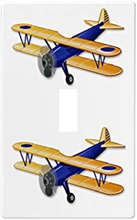 Blue Airplane Biplane Wallplate Switch Plate Cover (1 Gang - Single)
