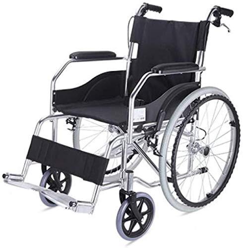 JYHQ Silla de ruedas ergonómica de aleación de aluminio plegable, luz viejo, manual, silla de ruedas, portátil, discapacitada, patinete, negro, color: negro (color: negro)