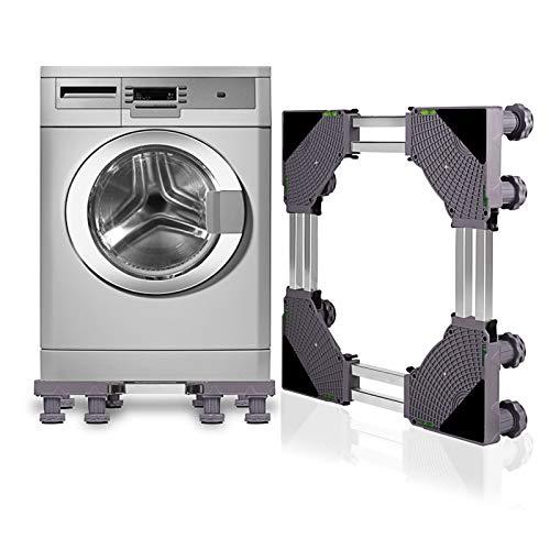 SMONTER Untergestell Waschmaschine Sockel verschiebbar Podeste & Rahmen für Kühlschrank Multifunktionaler beweglicher Verstellbare Stand für Trockner oder Gefrierschrank,8Füße,Grau