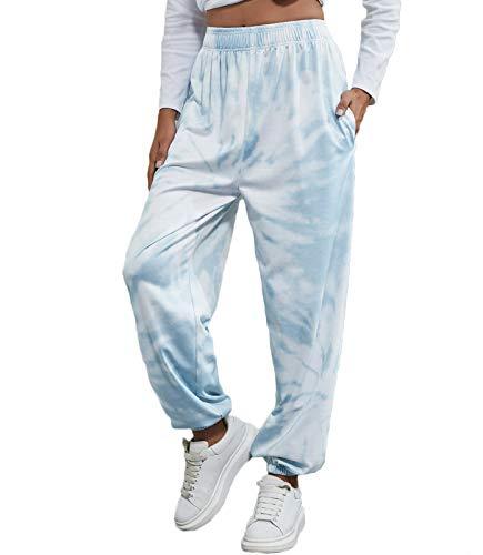 Nuofengkudu Mujer Efecto Teñido Harem Baggy Jogging Pantalones con Bolsillos Cintura Alta Comodo Llanura Largos Pantalón Deportiva Sports Jogger Pants Sweatpants Casual Ropa de Casa(Azul Claro,M)