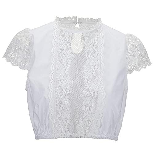 Kamellia Damen Dirndlbluse Spitze Elegantes Dirndl Bluse Weiß Trachtenbluse für Oktoberfest Rundhals Kurze Ärmel,Weiß,44
