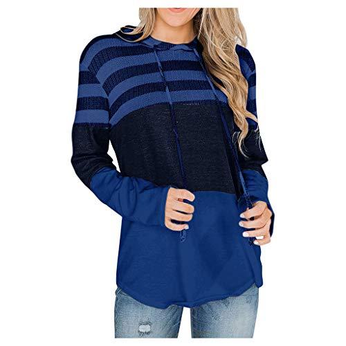 Sudaderas para mujer con rayas de manga larga y cuello redondo, sueltas y gráficas, azul oscuro, L