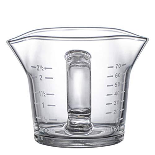 PIXNOR Taza Medidora Doble Caño Taza de Vidrio Taza de Báscula de Leche para Cafetería de Restaurante en Casa (70 Ml)