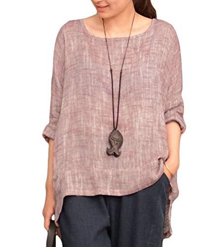 Onsoyours Blusa casual suelta manga 3/4 cuello redondo lino, blusa de verano...
